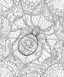 Adult coloring book,page a Halloween theme illustration for relaxing. Stock Photography