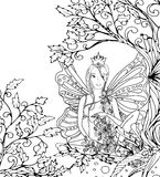 Adult coloring book page,isolated fairy lady with butterfly wings. Zentangle style art. Black and white monochrome Royalty Free Stock Photography