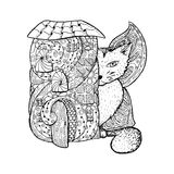 Adult coloring book page. Mono color black ink illustration, vector art. Fairy house, big cat with butterfly wings. Stock Image