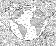 Adult coloring book page with planet earth royalty free stock photography