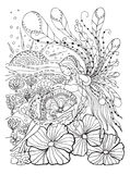 Adult coloring book page with Pregnant lady.Pregnancy in doodle style Royalty Free Stock Photo