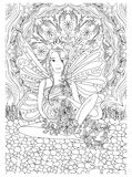 Adult coloring book page with Pregnant lady.Pregnancy in doodle style. Art.Black and white royalty free illustration
