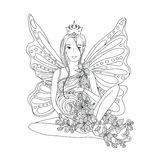 Adult coloring book page with Pregnant lady and wings. Royalty Free Stock Images