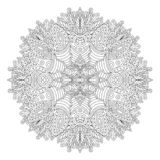 Adult coloring book page with round pattern royalty free stock photo
