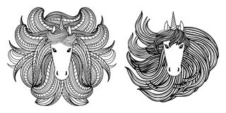 Adult coloring book page with unicorn, wave style mane. Hand drawn  Illustration for kid textile, card, pin, t-shirt print Stock Images