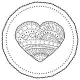 Adult coloring book page Vector heart shaped pattern Ethnic design in whimsical style  Stock Images