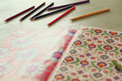 Adult coloring book trend, for stress relie Stock Image