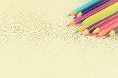Adult coloring book trend, for stress relief. top view. selective focus Royalty Free Stock Photography
