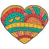 Adult coloring book. Vector heart shaped pattern Ethnic design in whimsical style Royalty Free Stock Image