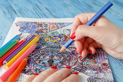 Adult coloring books. On blue table stock image