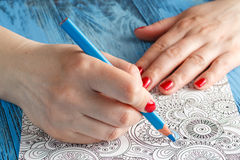 Adult coloring books colored pencils anti-stress tendency Royalty Free Stock Photography