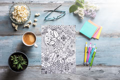 Adult coloring books, mindfulness concept Stock Photo