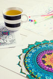 Adult coloring books, mindfulness concept Royalty Free Stock Photos