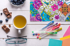 Adult coloring books, mindfulness concept Stock Photos