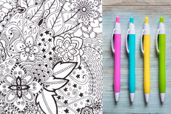 Adult coloring books, mindfulness concept. Adult coloring books, new stress relieving trend Stock Photo