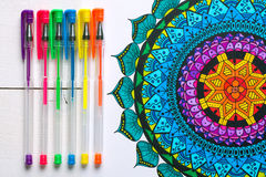 Adult coloring books, mindfulness concept Royalty Free Stock Photo