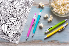 Adult coloring books, mindfulness concept Stock Images