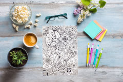Adult coloring books, stress relieving trend Royalty Free Stock Photography