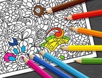 Adult coloring concept with pencils, printed Royalty Free Stock Images