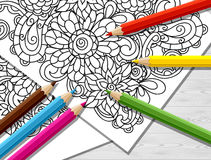Adult coloring concept with pencils, printed Stock Image