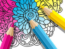 Adult coloring concept with pencils, printed Stock Photography