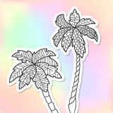Adult coloring doodle palm trees vector illustration