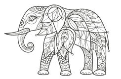 Adult Coloring - elephant. Vector illustration decorative elephant on white background. Fashion trend of adult coloration. Elephant vector with elements Royalty Free Stock Photos