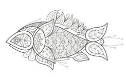 Adult coloring. A fish. Vector illustration decorative fish on white background. Fashion trend of adult coloration. Sea fish vector with elements oriental motif Stock Photos