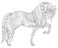Free Adult Coloring Page,book A Cute Horse For Relaxing,zen Art Style Illustration. Royalty Free Stock Images - 126677519