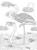 Adult coloring page with cranes Royalty Free Stock Images