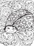 Adult coloring page design with Bug. Royalty Free Stock Photo