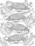 Adult coloring page with doves Royalty Free Stock Photo