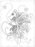 Adult coloring page with hippocampus. Lovely adult coloring page with hippocampus and floral element Royalty Free Stock Image