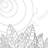 Adult coloring page leaves in the sun Stock Photography