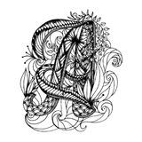 Adult coloring page with a letter of the alphabet. Zen art style illustration Stock Image