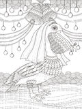 Adult coloring page with pelican Royalty Free Stock Images