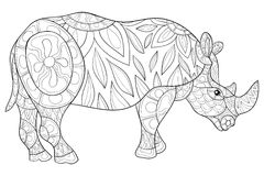 Adult coloring page  rhino Royalty Free Stock Photography