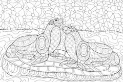 Adult coloring page two otters Stock Photo