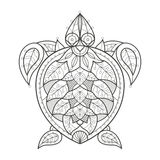 Adult coloring. Sea turtle. Vector illustration decorative turtle on white background. Fashion trend of adult coloration. Sea turtle vector with elements Stock Photography