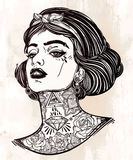 Adult coloring vector of young tattooed girl. Stock Photo