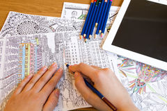 Adult colouring books with  pencils, new stress relieving trend, mindfulness concept person coloring  illustrative Stock Images