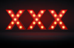 Adult Content. Glowing lights XXX adboard ready for adult content material Royalty Free Stock Photography
