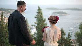 Adult couple admiring the beautiful view of the sea stock video