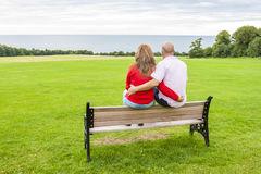 Adult couple on the bench Stock Photos