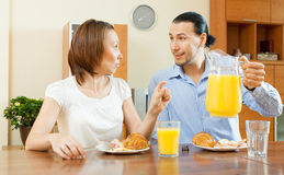 Adult couple having breakfast Royalty Free Stock Photo