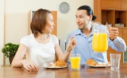 Adult couple having breakfast Royalty Free Stock Photo