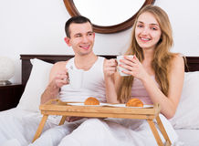 Adult couple having healthy breakfast Royalty Free Stock Image