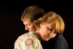 Adult couple hugging stock photo