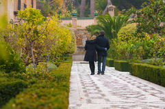Adult couple in love walking stock images