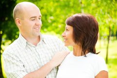 Adult couple in park stock images